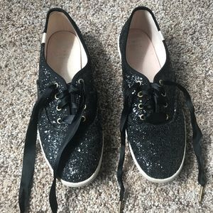 Black sparkle Keds/Kate Spade tennis shoes